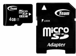 Карта памяти Team Class4 4GB + adapter TUSDH4GCL403